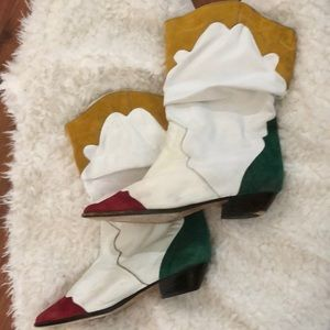 Two Luos vintage 80's white color block boots 8